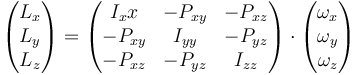 \begin{pmatrix}L_x \\ L_y \\ L_z \end{pmatrix} = \begin{pmatrix} I_xx & -P_{xy} & -P_{xz} \\ -P_{xy} & I_{yy} & -P_{yz} \\ -P_{xz} & -P_{yz} & I_{zz}\end{pmatrix}\cdot\begin{pmatrix}\omega_x \\ \omega_y \\ \omega_z \end{pmatrix}